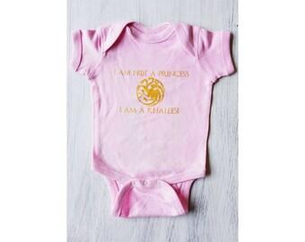 Game Of Thrones Baby Onesie / Khaleesi Onesie / Baby Shower Gift / Baby Girl Gift / Nerdy Baby / Geeky Baby Gift/ Targaryen / Not A Princess
