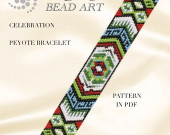 Pattern, peyote bracelet - Celebration ethnic inspired peyote bracelet cuff PDF pattern instant download