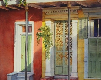French Quarter New Orleans historic architecture, creole cottage print of watercolor painting