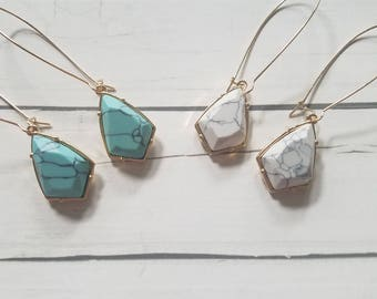Marble Pendant Earrings / White Marble Jewelry / Turquoise marble earrings / howlite jewelry / Howlite earrings / Geometric Jewelry / Drop