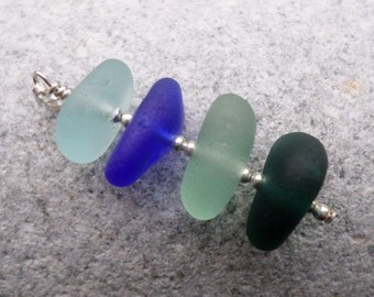 Blue Stacked Sea Glass Pendant Necklace, Sterling Silver, Seaglass, Beach Glass, Stack, Seaham, Beachglass Jewelry, Beach Jewelry