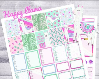 Llama Stickers, Planner Stickers, Printable weekly kit, Alpaca stickers, use with ECLP, floral, moroccan, Summer, palm, glitter, pink, drama