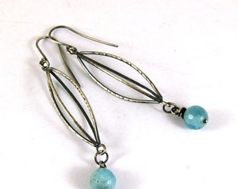 SALE 15% off !! - use the coupon code: SALE15 aquamarine silver earrings, oxidized sterling silver earrings