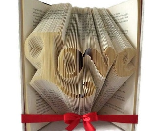 Love book folding pattern. DIY Valentine's gift. Word art  love. Create your own book sculpture. Free tutorial