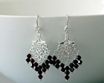 Garnet Crystal Silver Earrings -Garnet Earrings -Birthstone Jewellery -Chandelier Earrings -Gift for Her -Handmade -Beaded Earrings -UK Shop
