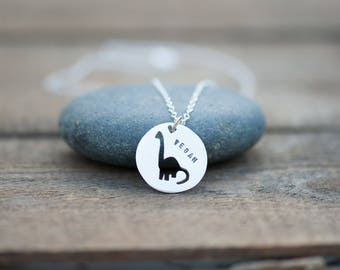Vegan Dinosaur Necklace Hand Sawn from Sterling Silver. Diplodocus