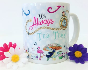Alice in wonderland themed tea mug - Alice in wonderland gift - White rabbit mug - Mad hatters tea party - alice wonderland pocket watch mug