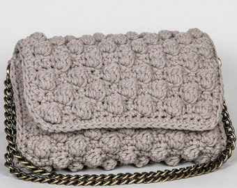 Crochet bag, Handmade crochet clutch, handcrafted  clutch,  gift for her,  boho clutch , bobble bag, flap bag, knitted bag, chain