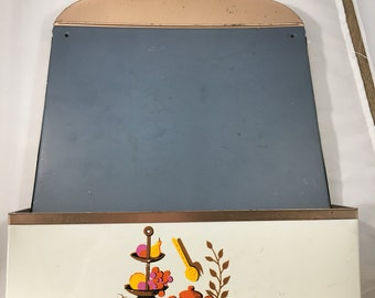 Vintage Metal Wall Pocket With Chalk Board Cute Midcentury Graphics
