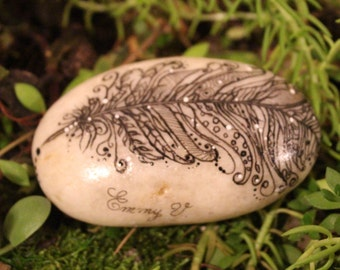 Hand painted bohemian feather stone