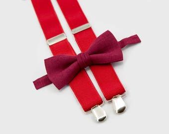 burgundy bow tie & red suspenders ring bearer outfit  groomsmen bow tie suspenders