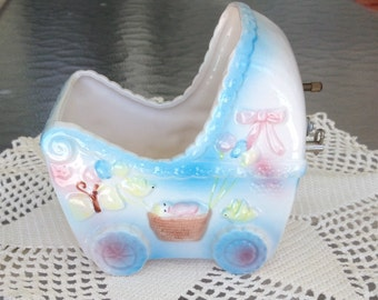 """1950s Musical Baby Carriage Baby Nursery Planter"""" Rock-A-Bye Baby"""" Turn Key *Shipping note:  We use expedite shipping (tracking / insured) o"""