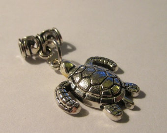 "Silver Tone Metal Sea Turtle Charm Pendant with Ornate Tube Bail, 1"""