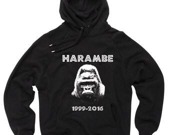 Harambe Sweatshirt Gorilla RIP Sweater Support Hoodie Harambe Hooded Sweatshirt