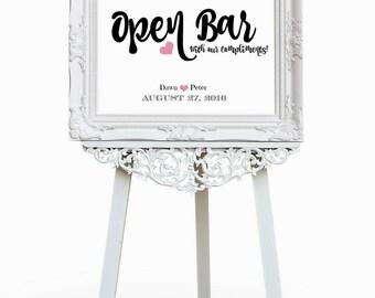 Wedding Open Bar Sign |  Wedding Sign Printable | Wedding Signage | Wedding Reception Wedding Party Sign | CWS303_2522C