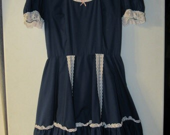 Vintage Blue Square Dance Dress with Pink and White Lace - Rockabilly Dress - Blue Swing Dress - Blue Circle Skirt Dress