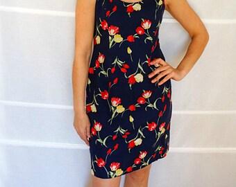 Womens summer dress floral short sheath dress navy blue short dress sleeveless dress tulip print size M medium Vintage 1990s 90s