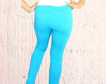 Neon blue leggings for women festival leggings footless tights stretch spandex lycra Jane Fonda Medium to Large Vintage 1980s