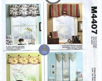 Valance Pattern McCall's Pattern #M4407 Soft Swoop Double Crown Hooked In Teardrop Home Dec In A Sec Pattern Window Curtain UNUSED 2003