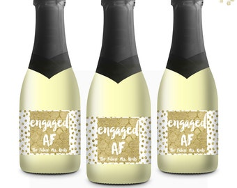 Engaged AF Mini Champagne Labels, Bachelorette Party, Congrats Gift, Party Favors, Engagement, Best Friend Gift