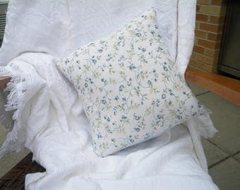 """14"""" x 14"""" pillow cover. Blue floral. Home decor. Vintage sheets. One-of-a-Kind. Unique. Shabby Chic decor. Bedroom pillow."""