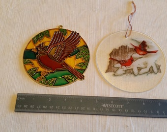 2 vintage cardinal bird stained glass window suncatchers - art studio fused picture - colored glassware birds winter spring red leaves home