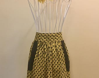 Vintage Yellow and Black Cotton Twill Apron