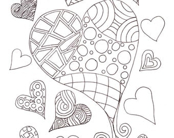 PDF Printable Colouring Page: Multi-Hearts