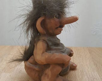 Vintage Fosse Troll Norwegian Doll Chalk and Clay Collectible Sculpture Norway Troll Doll Handmade Figurine Fantasy Figure Sven Schulze