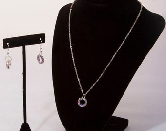 Cosmic Circle Set with Swarovski® Crystals, Sterling Silver Chain, Silver Finish Ear Wires