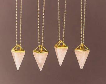 Rose Quartz Necklace Pink Crystal Point Gold Triangle Necklace Pyramid Pendant Quartz Crystal Layering Healing Crystal Yoga Pendant