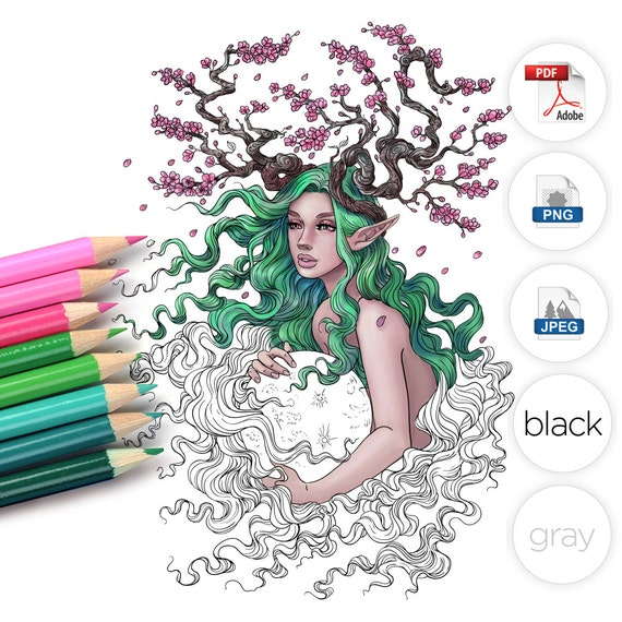 adult coloring page fantasy cherry blossom tree - Cherry Blossom Tree Coloring Pages
