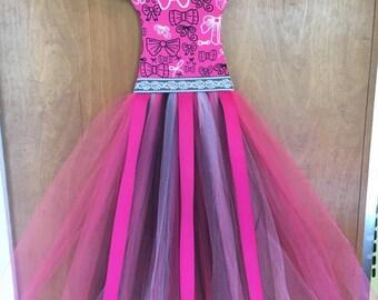 Free Shipping!! Hot Pink and Black Bows TuTu Hair Bow Holder