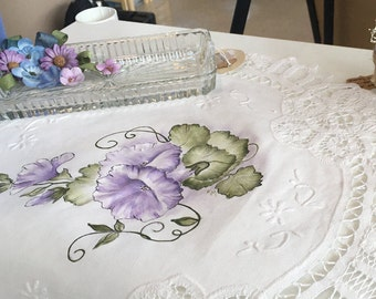 Hand-painted Morning Glories on Battenburg Lace Doily