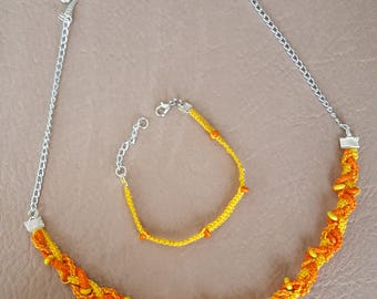 Yellow and Orange Braided Macrame Necklace and Bracelet Set
