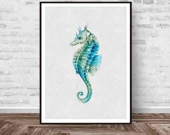 Seahorse Decor, Seahorse Print, Blue Seahorse Print, Beach Print, Printable Art, Ocean Animal Print, Seahorse Painting, Instant Download