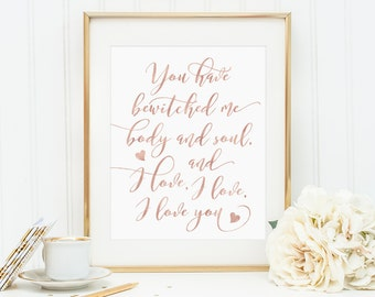 Rose Gold Print, You Have Bewitched Me Body and Soul, Mr Darcy Quote, Love Quote, Jane Austen, Rose Gold Art, Pride and Prejudice, Prints
