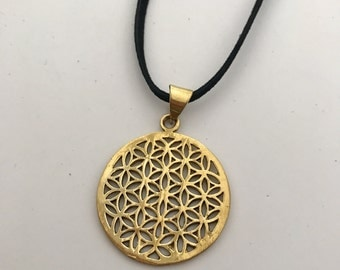 Flower of Life Sacred Geometry Brass Pendant Necklace on Leather Cord