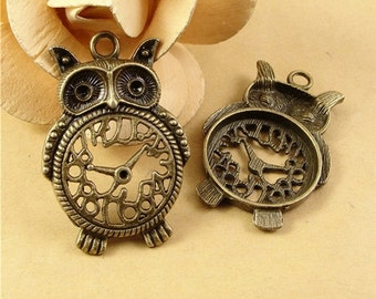 Large antique bronze owl clock pendant charm 2 from 10pcs of 48x32mm owl clock charm pendants connector wholesale charms antique bronze antique silver jewelry findings pa1569 a1708 mozeypictures Images