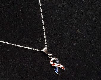 Sterling Silver Patriotic American Flag Pendant Necklace