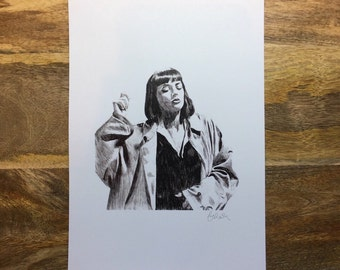 Print of Original Illustration of Mia Wallace of Pulp Fiction