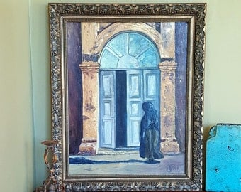 "Large ORIGINAL OIL PAINTING in Vintage Ornate Gold Frame Mediterranean Style 36"" x 32"" Old Europe Theme"