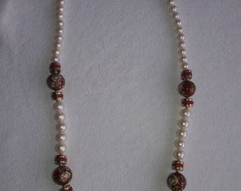 Pearls With Rust Accented Beads Vintage Necklace