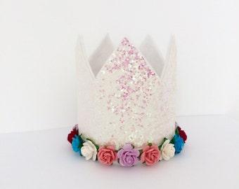 Glitter Birthday Crown | First Birthday Crown | Cake Smash Birthday Crown | First Photo Props crown | Glitter Birthday Crown with Flowers