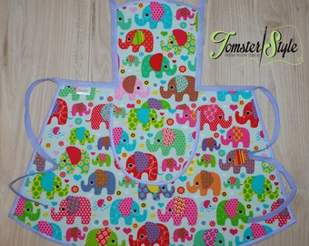 Apron; LILAC ELEPHANTS; Unique; Full Apron; Cooking apron; Child Apron; Kids apron; Gifts for girls; Birthday gift; Linens;