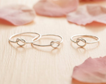 Sterling Silver Knot Ring - Delicate Knot Ring - Silver Knotted Ring - Skinny Knot Ring - Bridesmaid Gift - Tie The Knot Ring