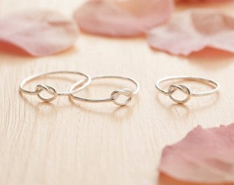 Silver Knot Ring - Delicate Knot Ring - Sterling Silver Knotted Ring - Skinny Knot Ring - Bridesmaid Gift - Tie The Knot Ring