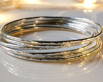 Sterling Silver Bangle - Skinny Silver Bangle - Hammered Silver Bangle - Silver Bangle Stack