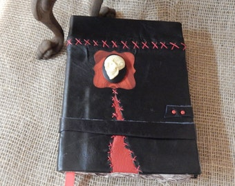Gothic Handmade Book, Journal, Travel Journal, Diary, Sketchbook, Goth, Gothic, Black, Red, Scrapbook, Scrapbooking, Leather, Red & Black