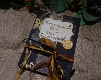 Spells & Incantations of a Witch, Handmade Book, Wicca, Spell Book, Travel Journal, Diary, Scrapbook, White Witch, Witchcraft, Bookbinding